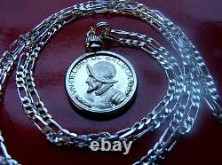 RARE CONQUISTADOR PANAMA PROOF COIN PENDANT on a 30.925 STERLING SILVER CHAIN