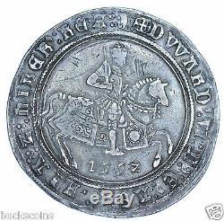 RARE EDWARD VI CROWN, 1552, mm. TUN, FINE ISSUE, BRITISH SILVER HAMMERED COIN