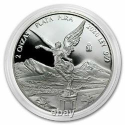 RARE IN HAND! 2020 Mexican Libertad 2 oz Silver PROOF Coin Capsule Mexico 2oz