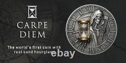 RARE Niue 5$ 2018 Silver 2oz Ø50mm CARPE DIEM coin with real SAND HOURGLASS
