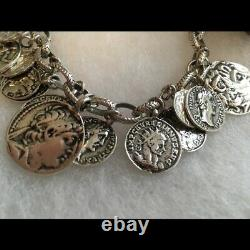 RARE Silpada Oxidized Sterling Roman Coin Cha Cha Charm Bracelet B1624