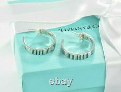 RARE Tiffany & Co Sterling Silver Coin Edge Large 1 Hoop Earrings with Pouch
