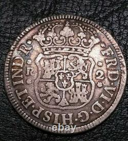 Rare 1756 Mexico 2 Reale Milled Crowned Pillars Doubloon US First Silver Coin $