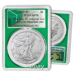 Rare 2021 (P) Emergency Type 1 Silver Eagle PCGS MS 70 First Philadelphia Box