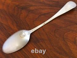 Rare Benjamin Burt Early American 18thc. Coin Silver Shellback Serving Spoon