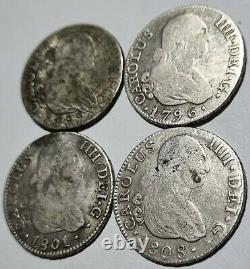 Rare Lot Of 4 Colonial Silver Coins 2 Reales 1808 1801 1799 1796 Carolus IIII Rr