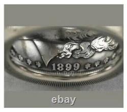 Rare Morgan 90% Silver Dollar USA Coin Gothic Biker 1899 Vintage Male Ring Sz 11