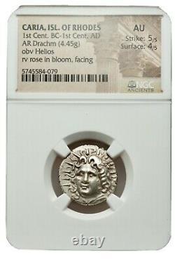 Rare NGC AU 5/5 4/5 RHODES Greek Island Caria Ancient Silver Drachm Coin
