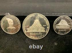 Rare Original 3 coin 1975 Silver Laos Proof Set withCase
