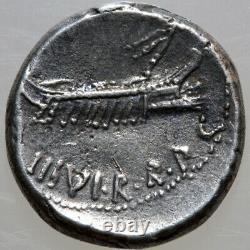 Rare Roman Coin Silver Denarius Marc Antony 33 Bc Military Mint Legion V