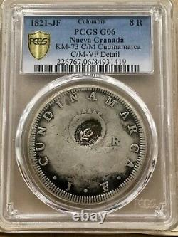 Raresilver Coin 8 Reales Cundinamarca Colombia 1821 Countermark New Granada