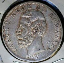 Romania 5 Lei Silver Crown Carol I 1884-B XF RARE COIN