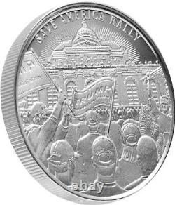 Save America Rally TRUMP 1oz Silver Coin MAGA 2021 Rare L/E of 3000
