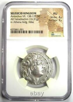 Seleucid Antiochus VII AR Tetradrachm Coin 138-129 BC Certified NGC AU Rare