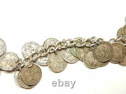 Silver Three Pence Penny 3p Coin Bracelet Rare George V Sterling Silver 60g 7.5