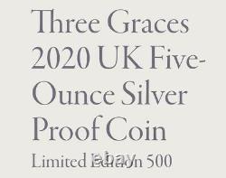 Three Graces UK Royal Mint 5 oz / £10 Five Ounce Silver Proof Coin Ltd RARE