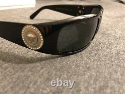 VERSACE 4044-B Sunglasses Black Silver Coin Swarovski Crystals Medusa Wrap Rare
