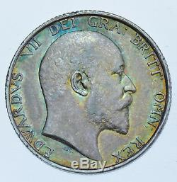 VERY RARE, KEY DATE 1905 SHILLING BRITISH SILVER COIN FROM EDWARD VII aEF+