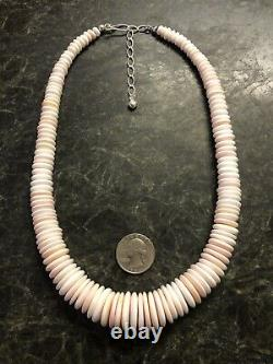 Vintage Jay King Rare Sterling Silver Graduated Coin Disk Conch Necklace 925 DTR